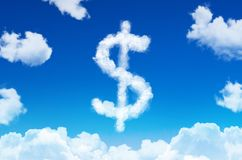 Symbol of a dollar in the form of clouds of steam against a blue sky with clouds. Symbol of a dollar in the form of clouds of steam against a blue sky with Stock Illustration