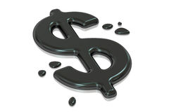 Symbol of dollar from oil, 3D rendering Royalty Free Stock Images
