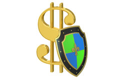Symbol dollar with shield, financial stability concept Royalty Free Stock Photography