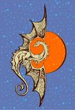 Symbol dragon with a background of the orange sun. Symbol a dragon against the background of the orange sun vector illustration