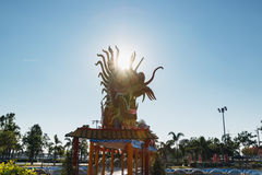 Symbol , dragon statue with sun ray Royalty Free Stock Image