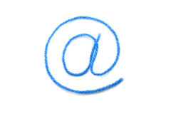 The symbol e-mail from a blue wool. On a white background Royalty Free Stock Photography