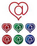 Symbol of the e-mail and the heart. Symbol of e-mail and the heart. Glossy buttons Royalty Free Stock Photo