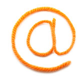 The symbol e-mail from a orange wool Stock Photography
