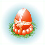 A symbol of Easter, egg with a bow. Stock Photo