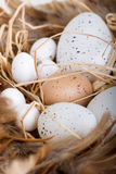 Symbol of Easter - eggs. In basket Stock Photo