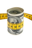 Symbol economy package with dollar bill and tape Stock Photos