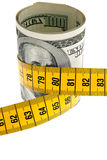 Symbol economy package with dollar bill and tape Stock Image