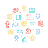 Symbol of Education Online Color Round Design Template Line Icon Concept. Vector Stock Photo