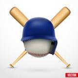 Symbol eines Baseballs. Sturzhelm, Ball und zwei Schläger. Vektor. Lizenzfreies Stockfoto