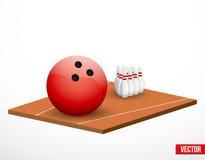 Symbol eines Bowlingspielspiels und -feldes. Stockfoto