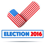 Symbol of Election 2016. Check mark symbol in the form of American flag. Editable Vector illustration Isolated on white background Royalty Free Stock Image