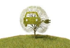Symbol electricity car  on tree Stock Photos