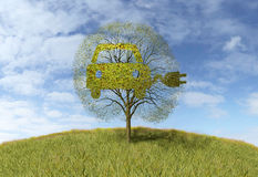 Symbol elektryczności samochód na drzewie royalty ilustracja