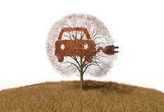 Symbol elektryczności samochód na drzewie ilustracja wektor