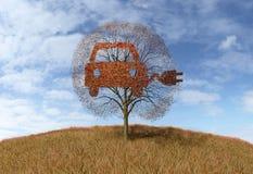 Symbol elektryczności samochód na drzewie ilustracji