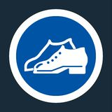 Symbol Symbol Enclosed Shoes Are Required In The Manufacturing Area sign on black background. Symbol Enclosed Shoes Are Required In The Manufacturing Area sign royalty free illustration