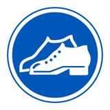 Symbol Enclosed Shoes Are Required In The Manufacturing Area sign Isolate On White Background,Vector Illustration EPS.10. Wear, footwear, protection, mandatory royalty free illustration