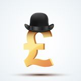 Symbol of the english pound in bowler hat Stock Image