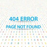 Symbol 404 error page not found on a digital background. Vector illustration Royalty Free Stock Photos