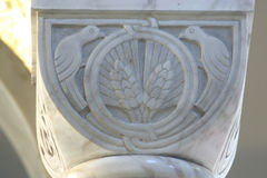 Symbol of the Eucharist. Historic church column ornate detail royalty free stock photo