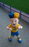Symbol of EURO 2012 Slavko poses on stadium Royalty Free Stock Image