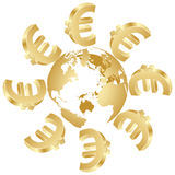 Symbol of euro around the globe. Symbol of golden euro around the globe Stock Images