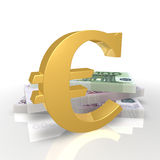 Symbol of the euro and banknotes. Gold Euro symbol Euro banknotes pack on a white background Stock Photo