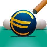 Symbol of Euro and billiard. Symbol of Euro and a billiard Stock Photo