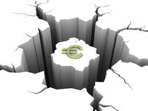 Symbol euro and circular hole in the ground Royalty Free Stock Photos