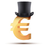 Symbol of the european euro in cylinder hat Stock Image