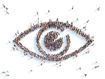 Symbol of a eye. Large group of people in the form of the eye. White background Stock Photos