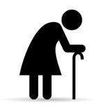 Symbol för äldre kvinna vektor illustrationer