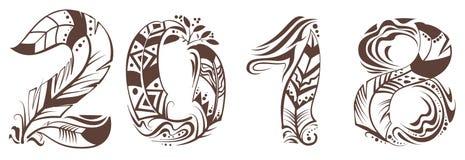 symbol för 2018 år fågelfjäder Royaltyfri Fotografi