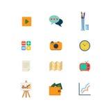 Symbol för app för website för rengöringsduk för plan för vektorlek video för pratstund tid för tv mobil Royaltyfria Foton