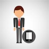 Symbol för arbetare för dräkt för Smartphone affärsman vektor illustrationer