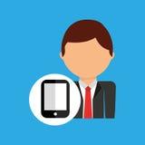 Symbol för arbetare för dräkt för Smartphone affärsman royaltyfri illustrationer