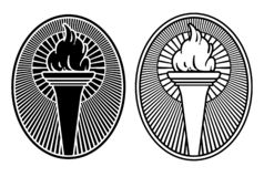 Symbol för Art Deco Style fackladesign Vektor Illustrationer