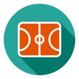 Symbol för basketfältvektor, symbol för sportfält, symbol för sportfält Modern plan lång skuggavektorsymbol för royaltyfri illustrationer