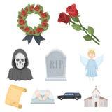 Symbol för begravnings- ceremoni i uppsättningsamling på materiel för symbol för tecknad filmstilvektor stock illustrationer