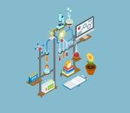 Symbol för begrepp för plan labb för rengöringsduk 3d isometrisk vetenskaplig infographic Arkivfoton