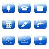 Symbol för blått för vektor för husutrustningar fyrkantig Royaltyfria Bilder