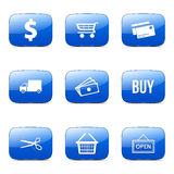 Symbol för blått för vektor för shoppingteckenfyrkant Arkivfoto