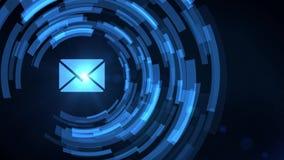 Symbol för bokstav för post för adress för email för projektion för hud för hologram för hand för affärsman vektor illustrationer