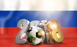 symbol 2018 för boll för Ryssland flaggasilver guld- Beståndsdelar av denna avbildar Fotografering för Bildbyråer