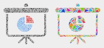 Symbol för bräde för demonstration för vektorpajdiagram mosaisk av triangelobjekt royaltyfri illustrationer