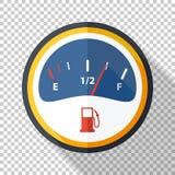 Symbol för bränslemått i plan stil på genomskinlig bakgrund stock illustrationer