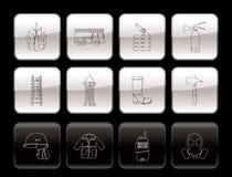 symbol för brandman för brigadutrustningbrand Arkivfoto