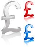 symbol för brittiskt pund 3d royaltyfri illustrationer