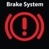Symbol för bromsljussignal på bilpanelen Instrumentbrädavarningstecken Uppmärksamhetsymbol royaltyfri illustrationer